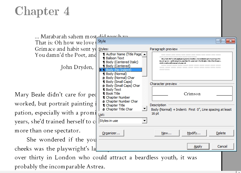 In My Ancient Version Of Word, I Access It Through The U201cFormatu201d Menu. Here  You Can See The Description Of My U201cno Indentu201d Style, Which I Use For The  First ...