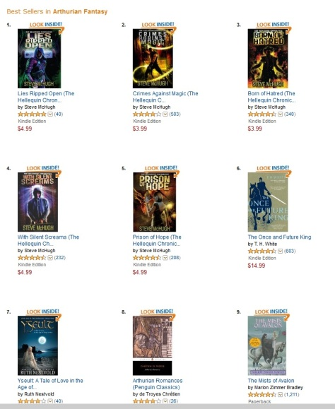 Arthurian fiction bestsellers